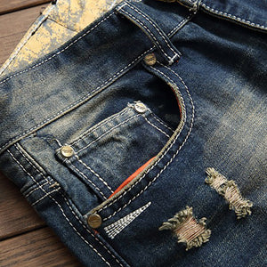Wild Tiger Embroidery Distressed Style Men Straight Jeans