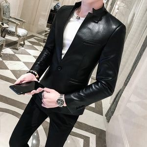 Solid Black Slim Fit PU One Button Business Casual Men Blazer