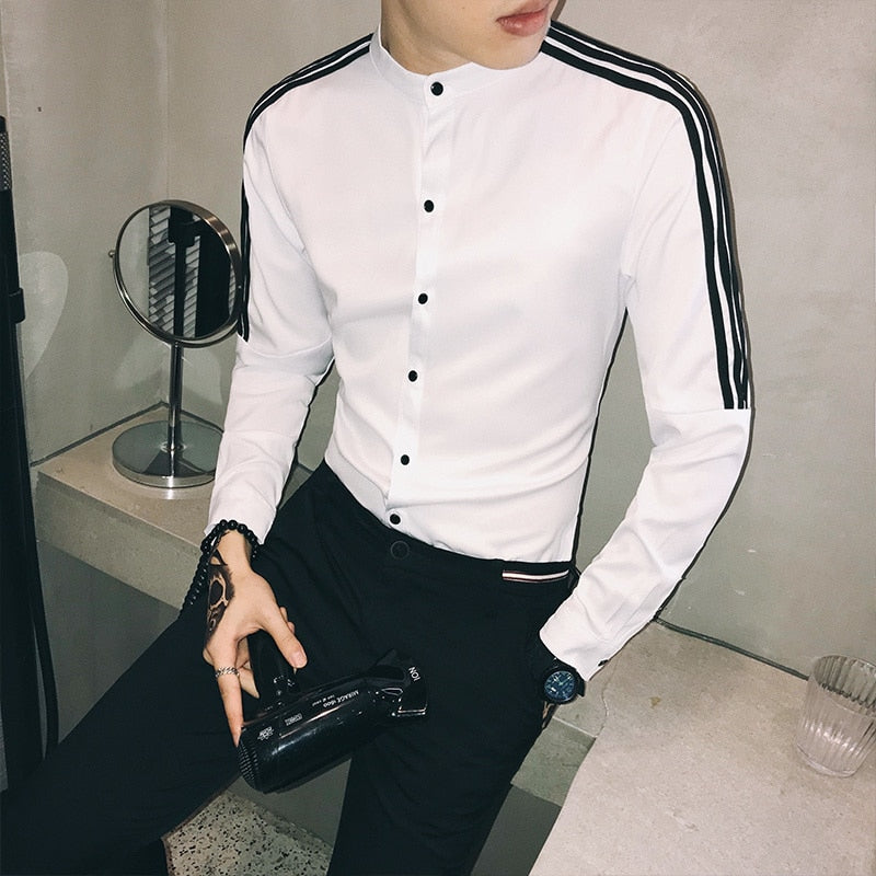 Mstyle Mens Trendy Long Sleeve Slim Fit Club Contrast Color Button Down Dress Shirts