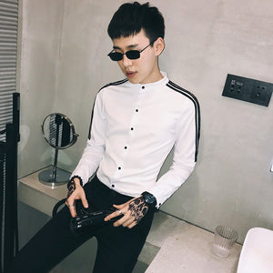 Korean Style with Contrast Shoulder Stripe Detail Men Slim Fit Shirt