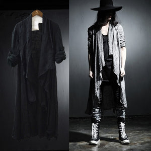 Grey Black Korean Style Long Pop Punk Style Men Cardigan