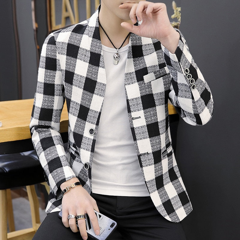 Stand Collar  Men Black And White Men Blazer