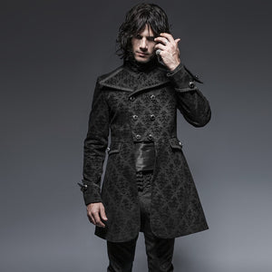 Gothic Double Breasted Crop Waist Men Long Costume Blazer