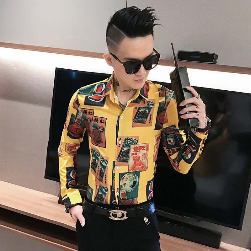 Mix Casual Print Men Long Sleeves Shirts