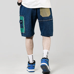 Summer Casual Patchwork Knee Length Men Shorts