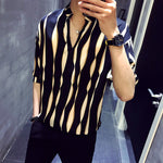 Non Straight Stripes Art V Neck Stand Collar Men Shirt - FanFreakz