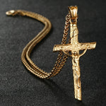 Stylish Stainless Steel Link Chain Christian Cross Design Men Necklaces