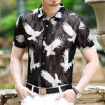 Owl Prints Semi Sheer Men French Lace Shirt