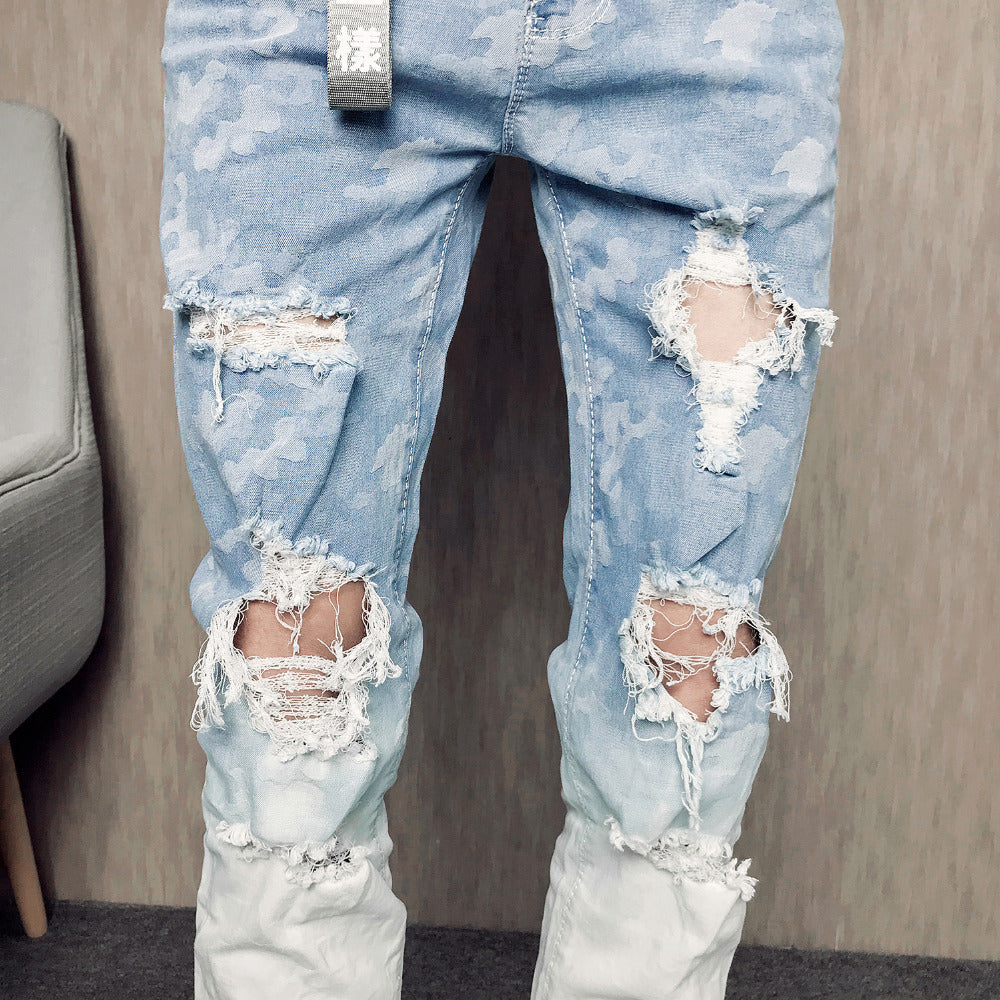 Gradient Color Ripped Hole Men Skinny Jeans