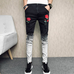 Gradient Skinny Stretch Men Jeans with Rose Embroidery Detail - FanFreakz