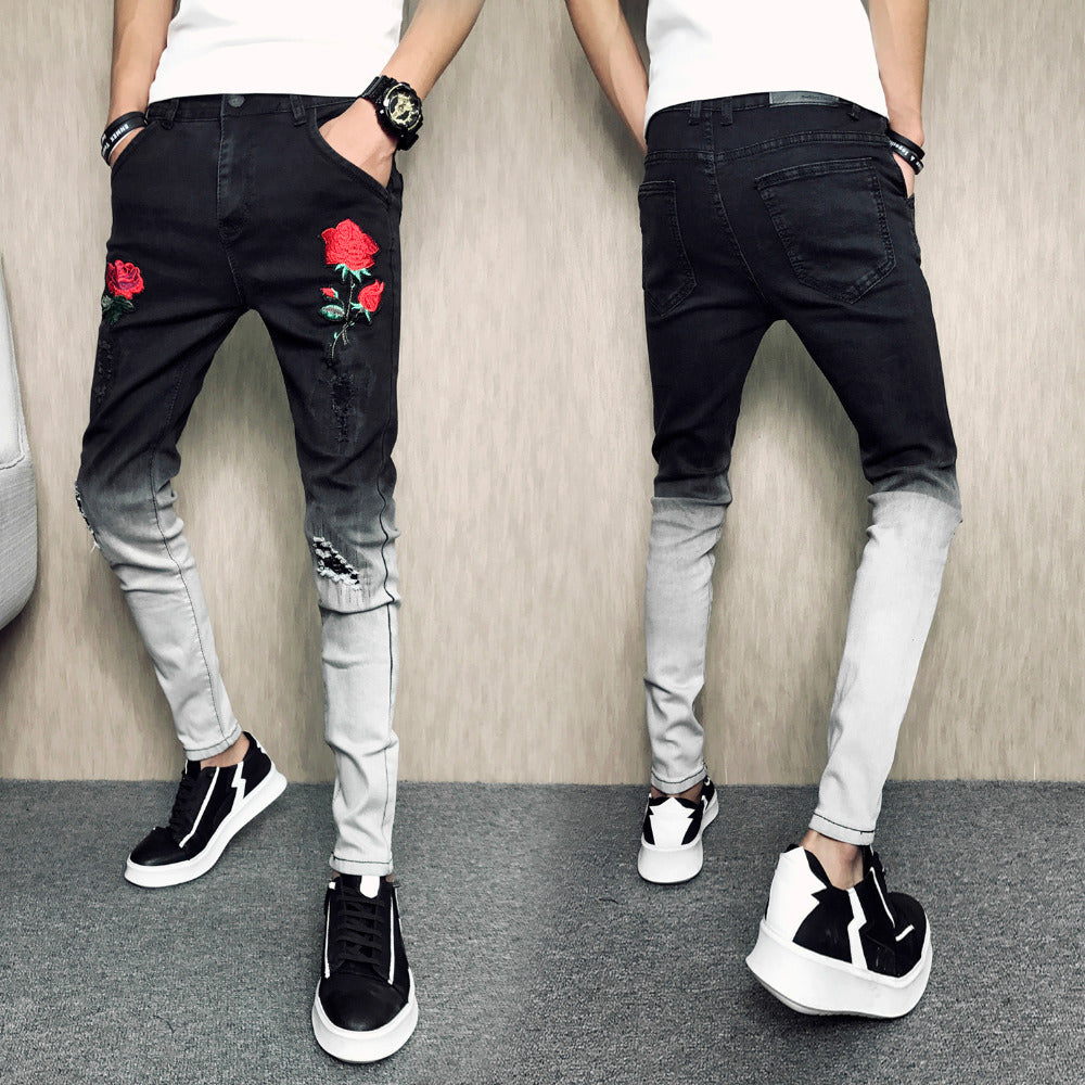 7fd269bf Gradient Skinny Stretch Men Jeans with Rose Embroidery Detail - FanFreakz