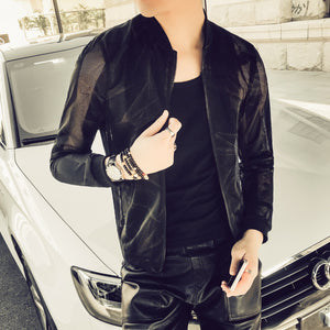 Chalk Scratch Thin Semi Transparent Men Slim Fit Jacket - FanFreakz