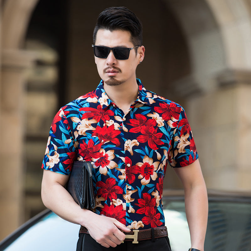 Abstract High Contrast Floral Pattern Color Men Short Sleeves Shirt