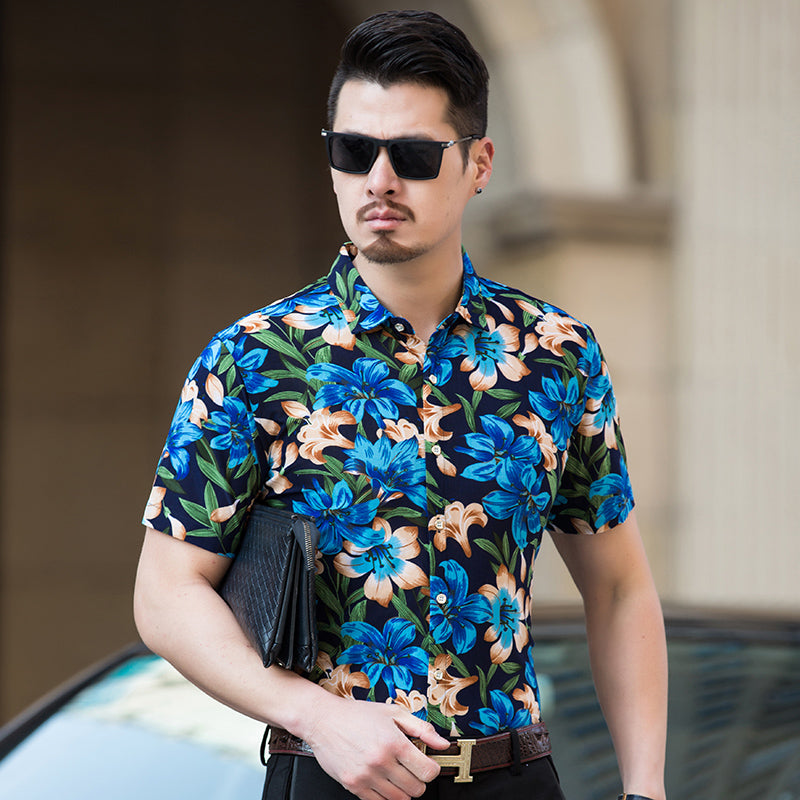 722b2485a8c Abstract High Contrast Floral Pattern Color Men Short Sleeves Shirt -  FanFreakz