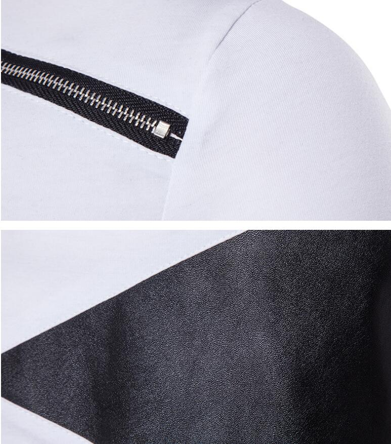 Asymmetric Long with Zipper and Leather Patchwork Detail Men T-shirt