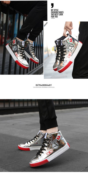 High Top Patent leather Shiny Men Street Style Sneakers - FanFreakz