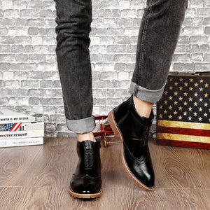 Pointed Toe Clean Casual Style Men Ankle Boots
