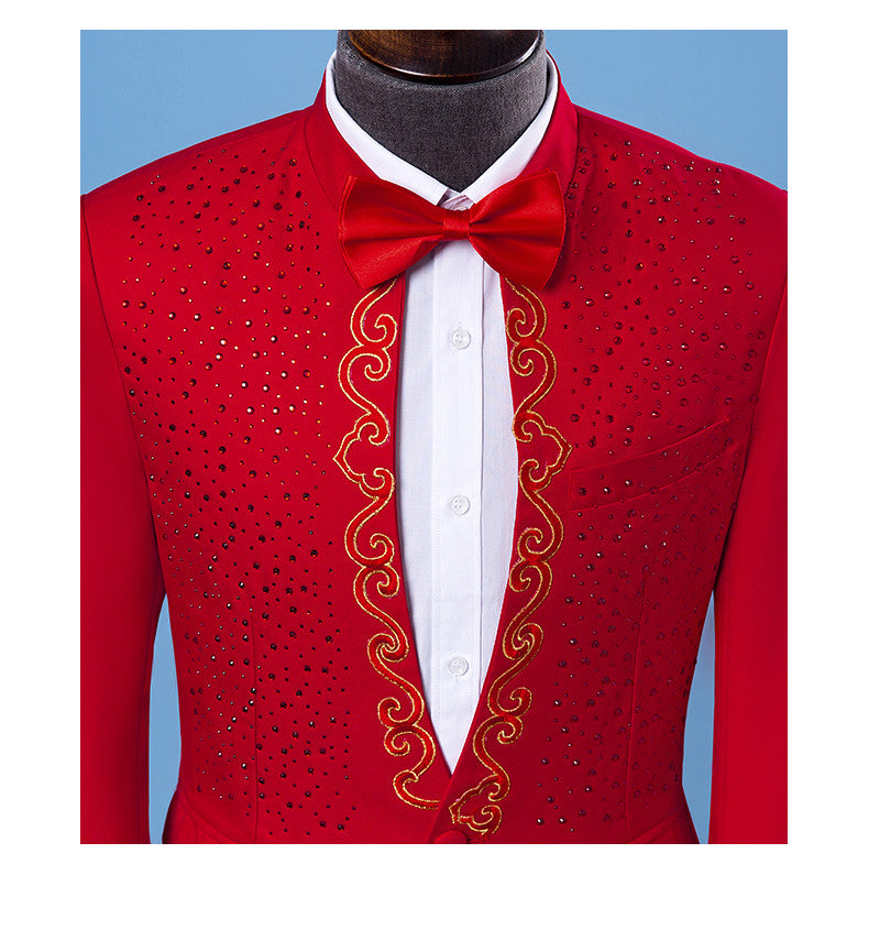 Lapel Embroidery Detail Flashing Crystals Men Slim Fit Suit - FanFreakz