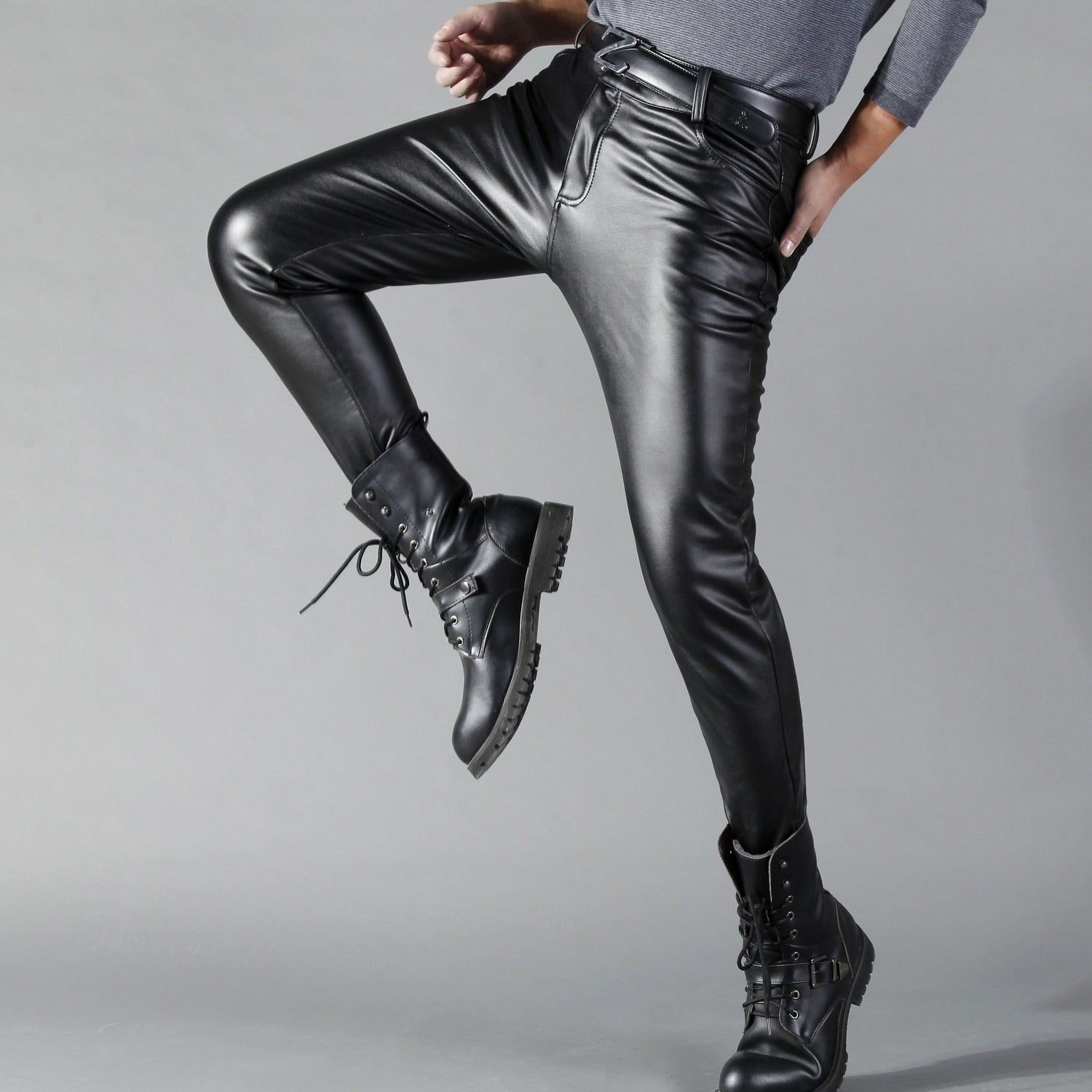 Solid Black Clean And Sleek Design Men Leather Pants Fanfreakz