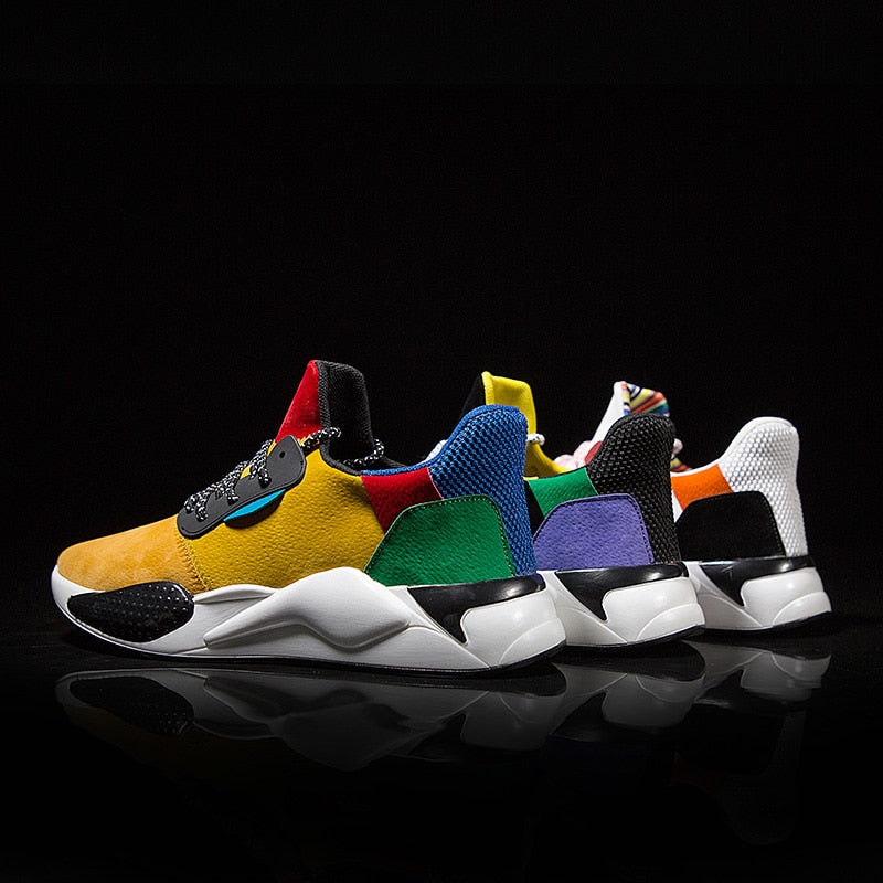 Casual Breathable PU Leather Mix Colors Men Sneakers