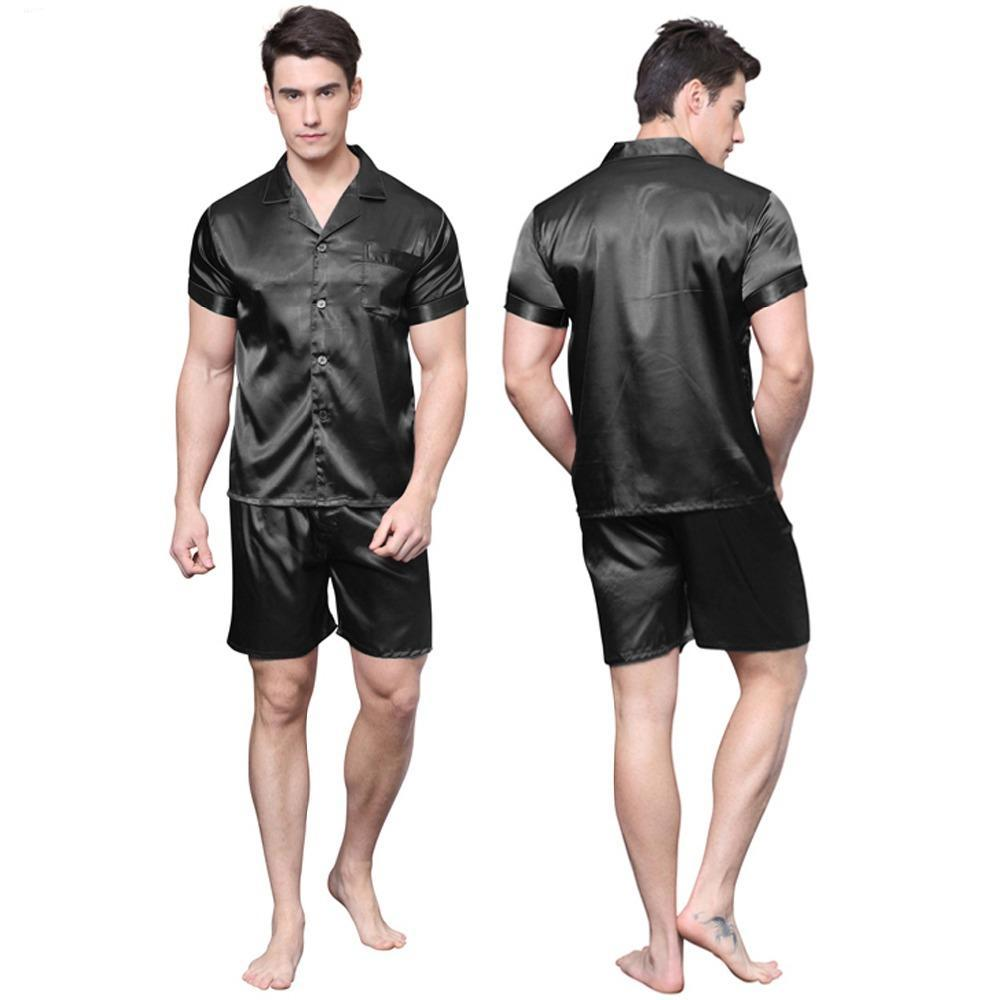 c7a9dac474 Tony candice satin silk pajamas shorts for men rayon silk sleepwear summer male  pajama set soft
