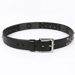 Luxurious Black Rock Skull Style Rivet Men Leather Belt