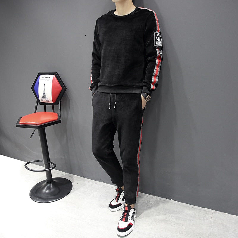 Sport Soft Two Pieces Casual Men Sweatshirt and Pants