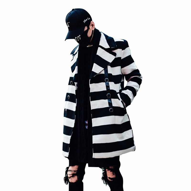Casual Youth Style Turn Down Collar Striped Design Men Coat - FanFreakz