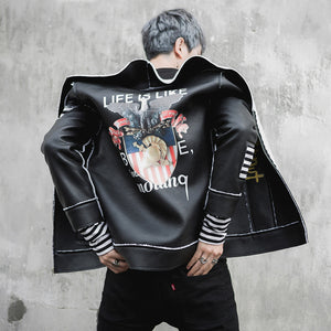 Unique Stand Collar Faux Leather Fleece Inside Men Jacket Contrast Patch and Print on the Back