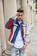 Casual Denim with Sequin Beads Stage Performance Style Men Jacket