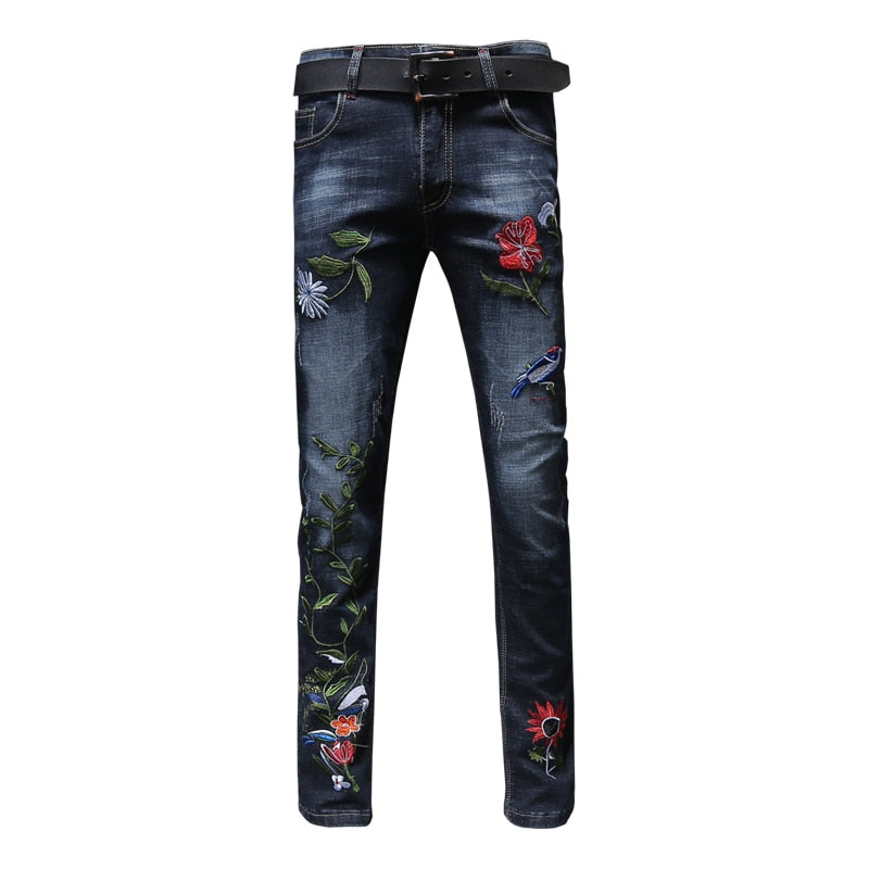Skinny Men's Flower Embroidery Fashion Slim Jeans