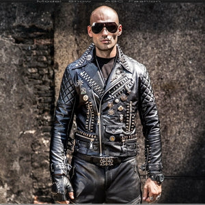 Black Faux Leather Rivets Punk Street Costume Slim Fit Style Men Jacket