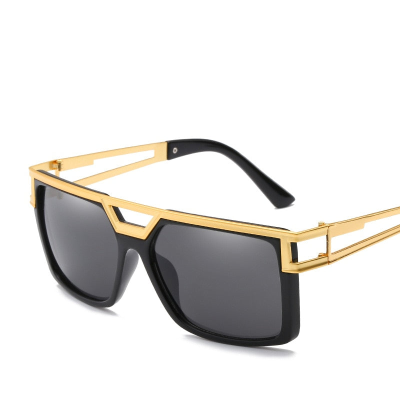 Vintage Classic Square with Golden Beams Hollow Design Men Sunglasses