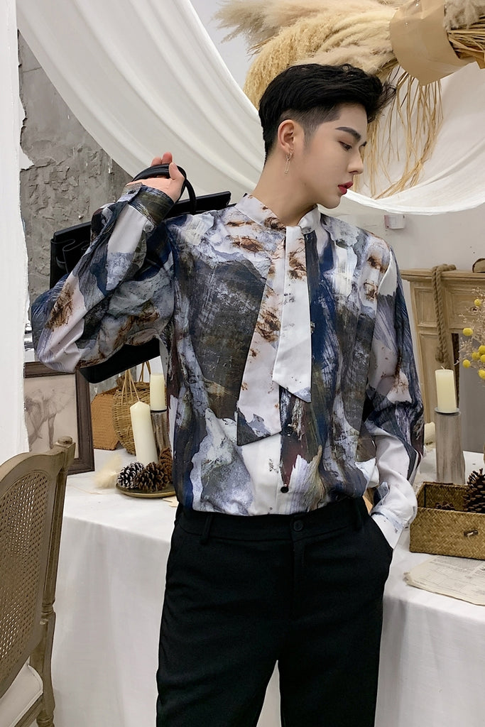 Ash Vintage Pattern with Bow Tie Men Long Sleeve Shirt - FanFreakz