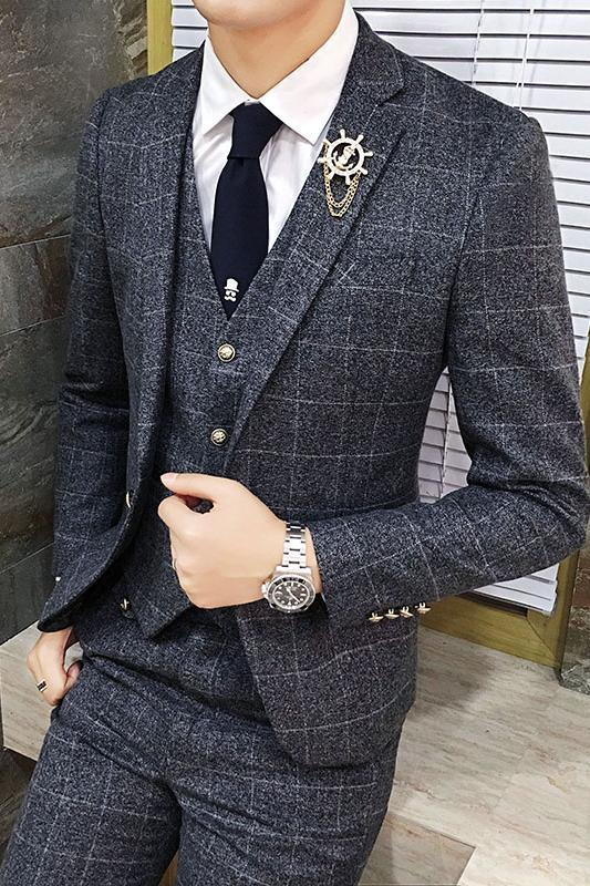 British Style Vintage Plaid Men Suits Set - FanFreakz