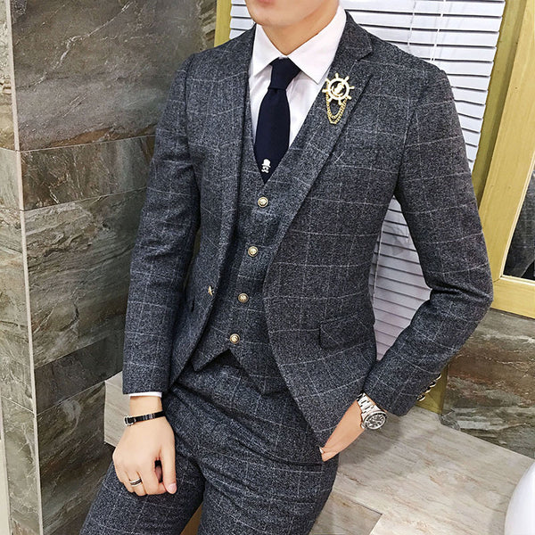 British Style Vintage Plaid Men Suits Set