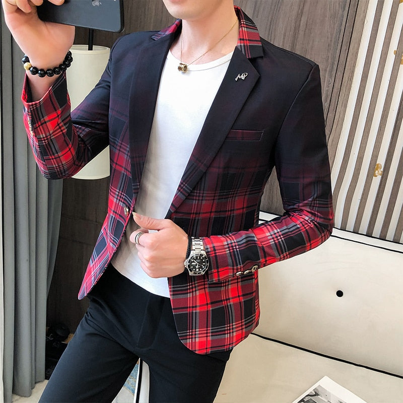 Business Clothing British Style Plaid Blazer for Men