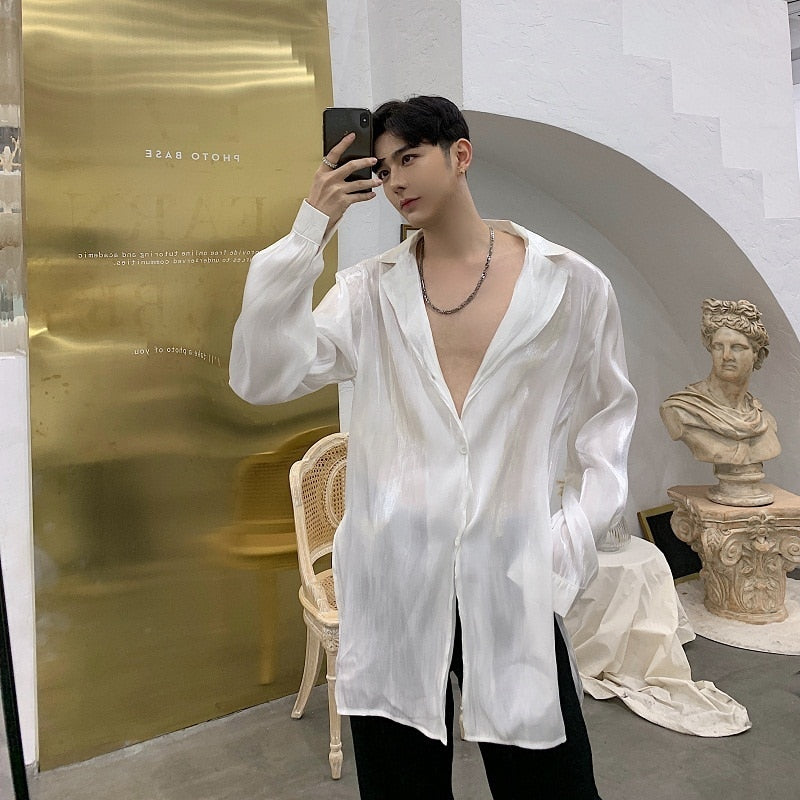 Vintage Translucent Sexy Organza Style Men Long Sleeve Shirt