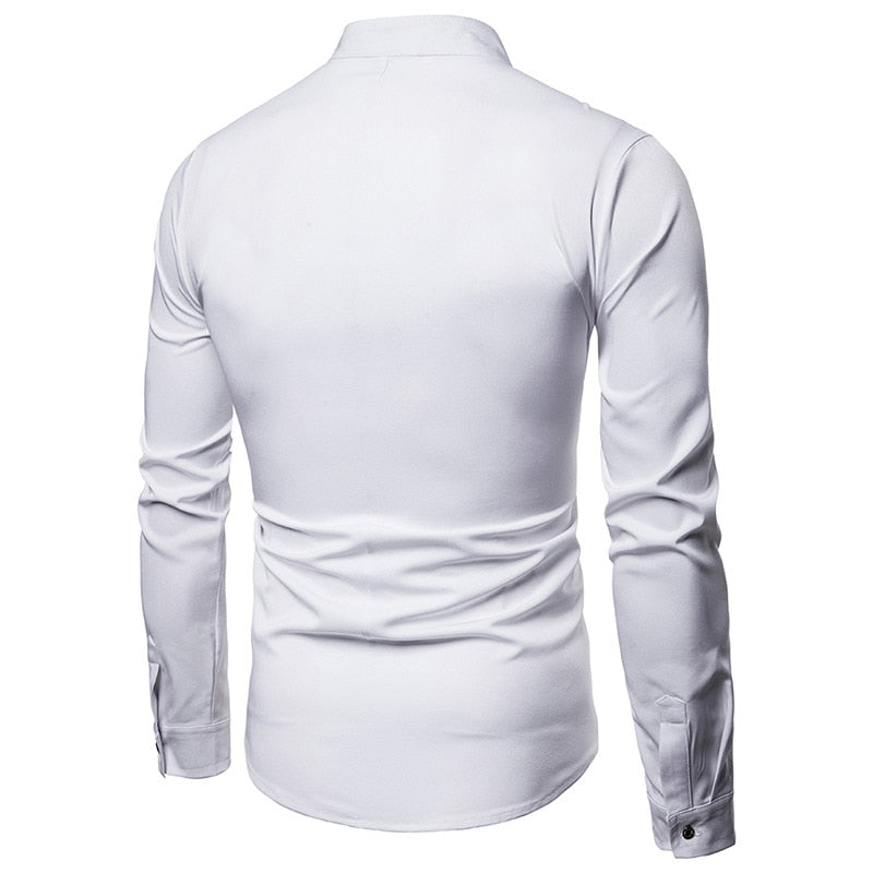 3c5c0d24b96 Solid White and Black Oblique Button Mandarin Collar Style Men Long Sleeve  Shirt