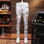 White Printing Slim Straight Stretch Jeans