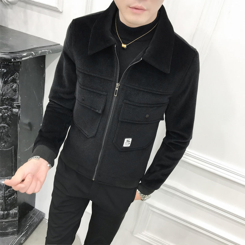 Thick Black Turn Down Collar Simply Casual Men Jacket