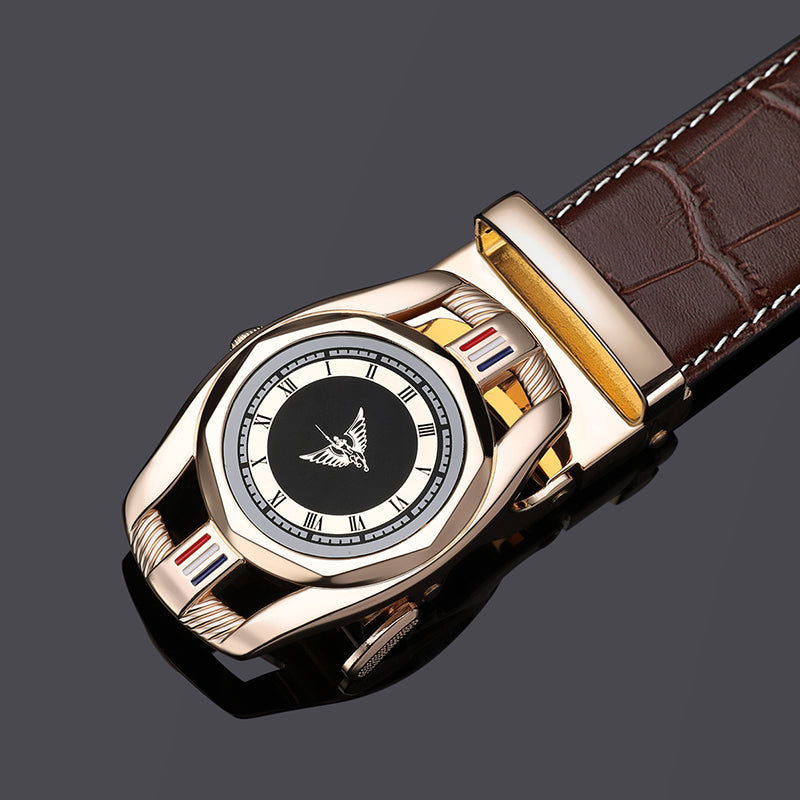 Automatic Clock Pattern Buckle with Casual Leather Strap Style Men Belt