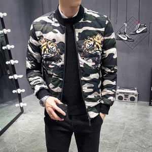 Winter Camouflage Tiger Print Bomber Casual Style Men Jacket