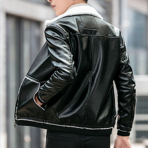 Winter Thick Collar Fleece Men PU Leather Jacket
