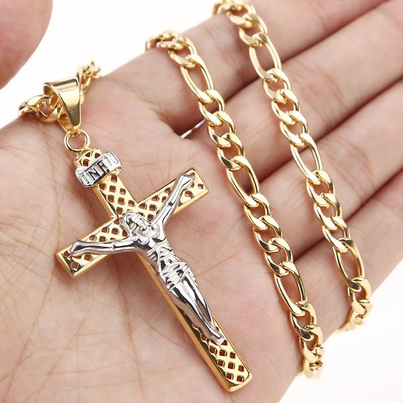 Hollow Two Tone Cross Stainless Steel Pendant