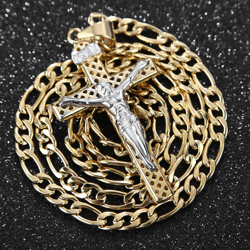 Christian Cross Pendant Stainless Steel Hollow Chain Men Necklaces