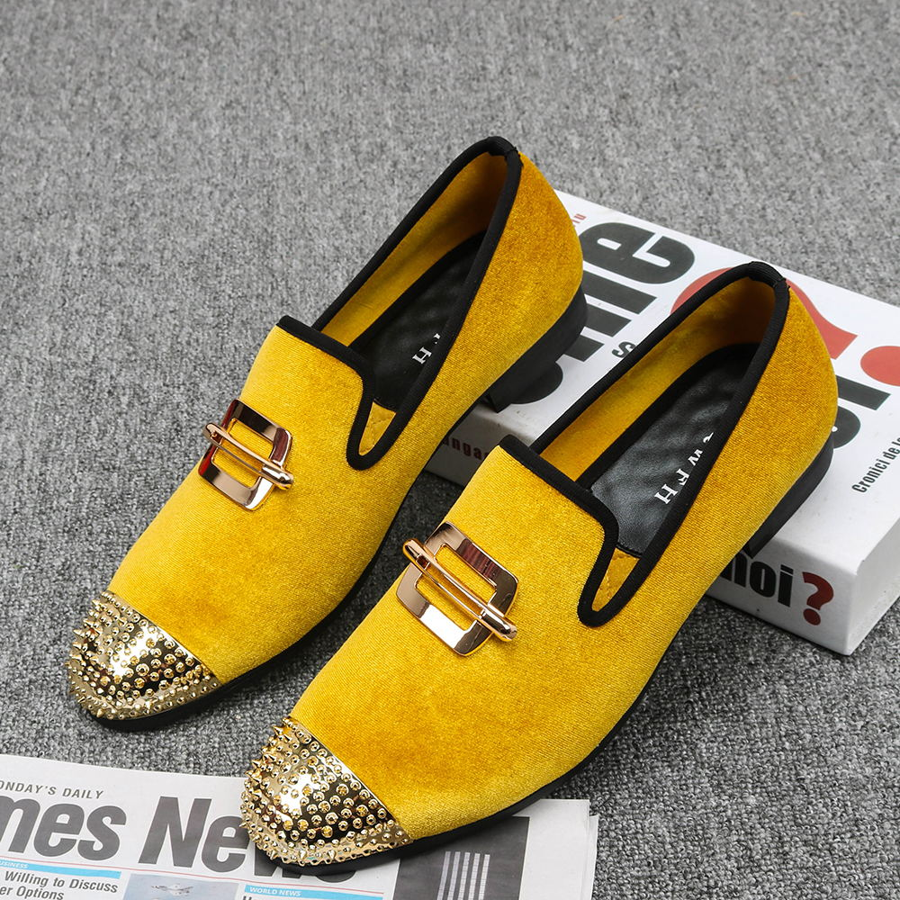 Yellow Gold Velvet with Rivets Toe Men Loafers Shoes