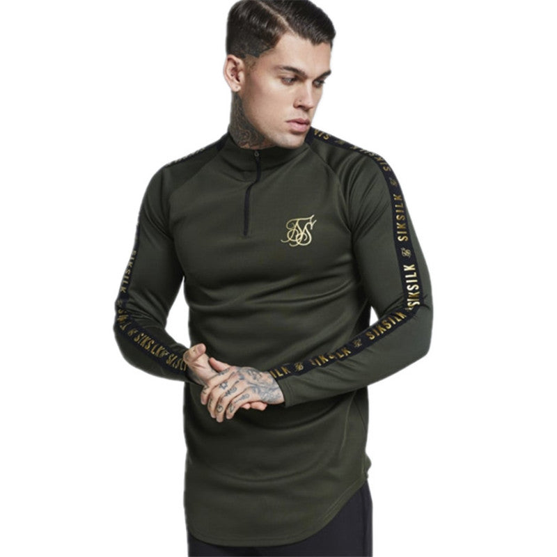 Solid Colour Stretch Turtleneck Long Sleeve Slim Style Men T-Shirt
