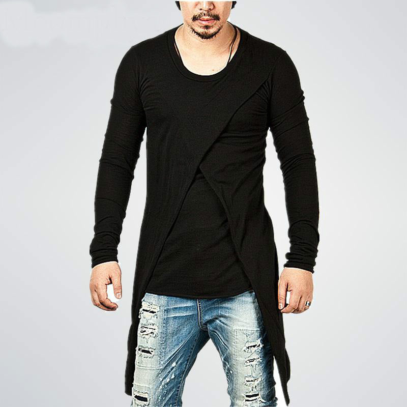 Cross Split Detail Back Longline Men Hip Hop Style T-Shirt - FanFreakz