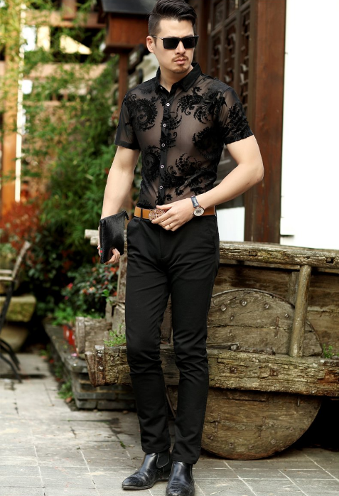 Baroque Floral Pattern Transparent Men Short Sleeve Shirt - FanFreakz